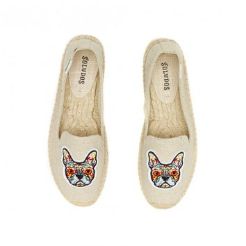 Soludos Frenchie Embroidered platform Smoking Slipper in Sand - Soludos Espadrilles