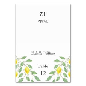 Modern Boho Lemon Summer Wedding Place Card