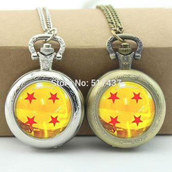 Dragonball z Watch Necklace Glass Cabochon Locket Necklace Vintage Pocket Watch Necklace Silver