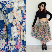 """Vintage 60's 70's pleated floral flower full skirt blue white pink maxi 28"""""""