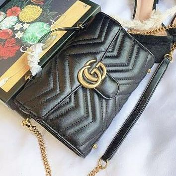 GUCCI New Fashion High Quality Leather Shoulder Bag Women Black