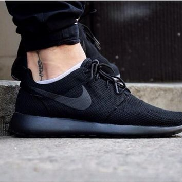 Nike Roshe Black Golden Run Sport Casual Shoes Sneakers For Wome ba9bdc02a