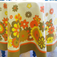 vintage round tablecloth // vintage kitsch kitchen // retro floral tablecloth // avocado green yellow orange table cloth // 1970s tablecloth