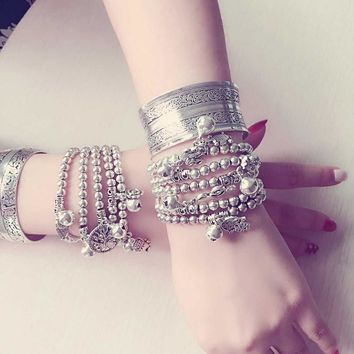 Vintage Bohemian Silver Bangles with Retro Carving Flower, Elephant Tibetan, and Cuff Bracelets