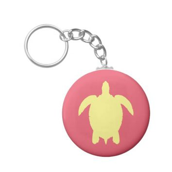 Yellow and Pink Summer Sea Turtle Basic Round Button Keychain