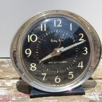 Vintage Clock Black Westclox Wind Up Clock Alarm Clock Baby Ben Black