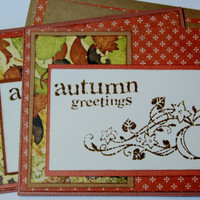 Autumn Greetings - Pair (2) of Handmade Fall Greeting Cards