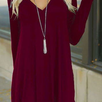Womens Loose V-Neck Dress Red Wine