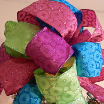 Large Pink, Green, Blue, and Purple Christmas Tree topper bow