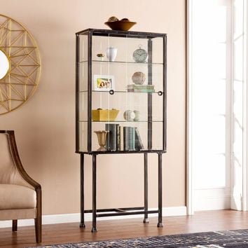 Metal/Glass Sliding-Door Display Cabinet By Southern Enterprises