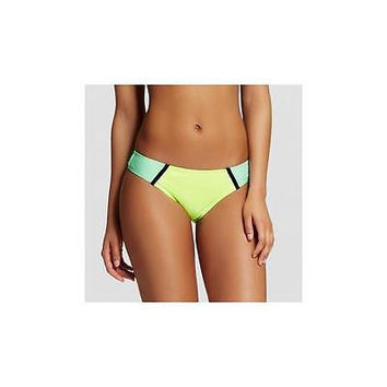 Xhilaration Women's Colorblock Cheeky Hipster Bikini Bottom, Yellow/Aqua, Mediu