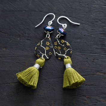Cherry Blossom Green Tassel Earrings with Metallic Cobalt Blue Beads, Japanese Earrings, Asian Earrings, Teardrop Earrings, Tassel Jewelry