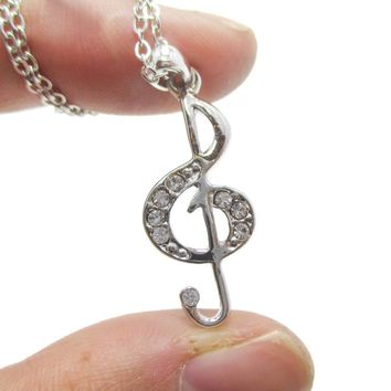 Treble Clef Shaped Rhinestone Pendant Necklace in Silver | Music Themed Jewelry