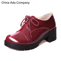 New 2016 Autumn British Style Vintage Bullock Shoes Thick Heel Lace Up Oxford's 3 Color's