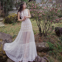 Embroidered White  Stereo Lace Dress Mermaid  Two Piece See-through Sexy Princess Dress 2017 New Spring Summer Dress