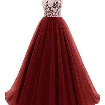 Women's Long Prom Dress Tulle Evening Dance Bridesmadi Gown with Lace
