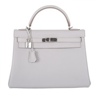 SUPAFAB! Hermes Kelly Bag 32CM Gris Perle TRUE NYC GIRL BAG!!!!!