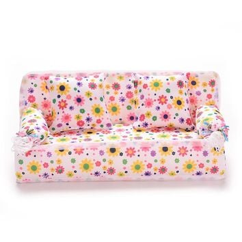 1 Set Doll House Toys Mini Dollhouse Furniture Flower Cloth Sofa Couch With 2 Full Cushions For Barbies Accessories Hot Sell