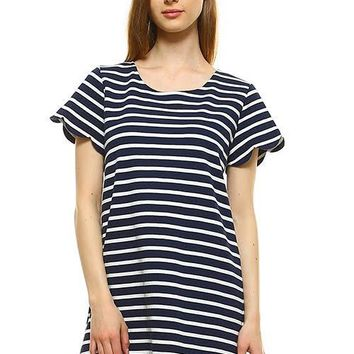 Women's Thick Striped Scalloped Dress