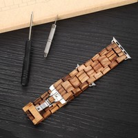 100% Natural Wooden Band for Apple Watch with Adaptor 42mm Luxury Wood Watch Strap Iwatch Band