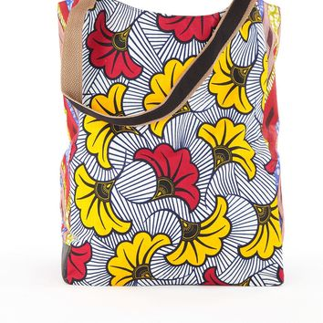African Print Shopper Bag-White/Red
