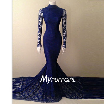 2016 Navy Blue Soft Lace High Neck Mermaid Formal Gown With Long Sleeves