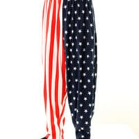 Baggy Gym Workout Pants-AMERICAN USA FLAG PRINT M-LG-XL
