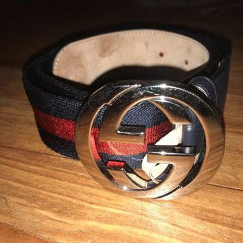 DCCKIN2 Authentic Mens Gucci Web belt with G buckle Belt Blue and Red Size 90/36