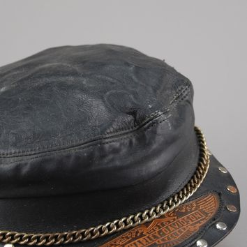 Harley Davidson Studded, Chained & Patched Leather Hat