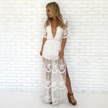 Wine & Dine Embroidered Maxi Dress in White