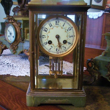 French Clock Japy Freres 1880s Antique Crystal Regulator Mercury Pendulum Green Onyx Brass Case Gong France Beveled Glass Miniature Table