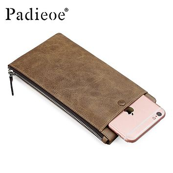 Business Money Pocket Genuine Leather Men Long Wallet for Phone Vintage Large Capacity Coin Purse Slim Men's Card Holder
