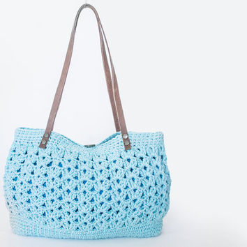 BAG // Turquoise Blue Summer Bag - Shoulder Bag Celebrity Style With Genuine Leather Straps / Handles shoulder bag-crochet bag-hand made
