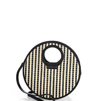 Striped Woven Circle Crossbody Bag