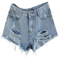 ROMWE | Distressed Light Blue Denim Shorts, The Latest Street Fashion