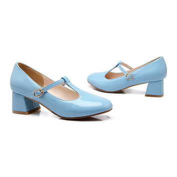 Round Last Work Thin Shoes  sky blue