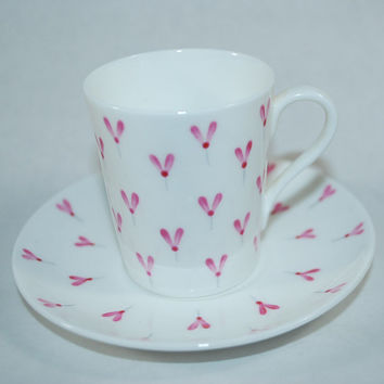 Vintage Porcelain Cup and Saucer - Pink Hearts or Pink Insects? - You Be the Judge -