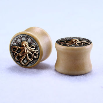Steampunk Earplugs, OCTOPUS Wood Gauges , Solid Wood Flesh Tunnels, Ear plugs, Custom Size
