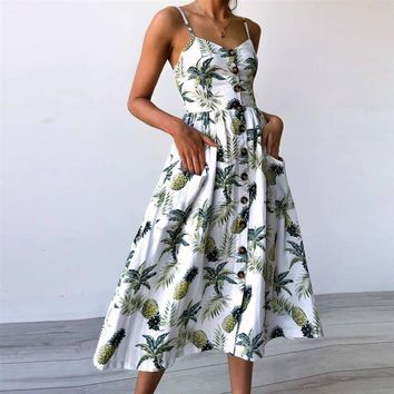 Summer Dress Women Sunflower Pineapple Print Backless Party Dress  Dress