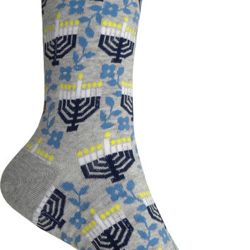Menorah with Flowers Crew Socks in Gray Heather