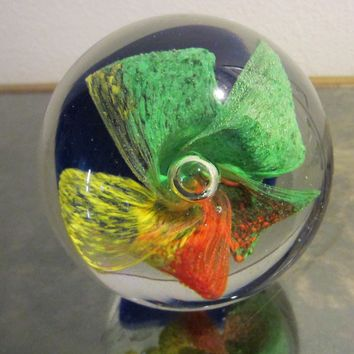 Orchid Murano Glass Bubble Paperweight Color Rainbow Cobalt Bed