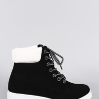 Two Tone Round Toe Lace Up Lug Sole Work Ankle Boots