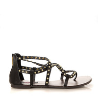 Gladiator Studded Strappy Flat Sandals