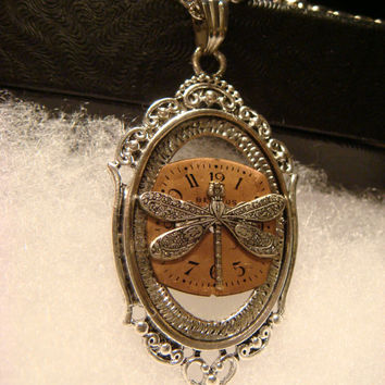 Victoran Style Watch Face with Dragonfly Pendant Necklace  - Upcycled Jewelry  (1857)