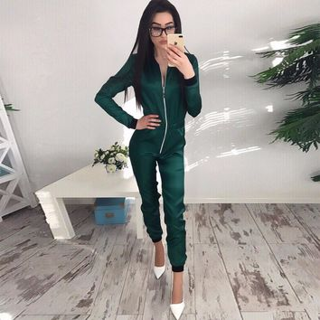 Puseky 2017 Autumn Winter Fashion Style All-match Casual Solid Rompers Jumpsuits Womens Zipper Sportswear Jumpsuits overalls