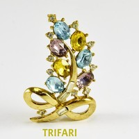Trifari Rhinestone Leaf Bow Brooch Pastel Blue Yellow Purple Faceted Stones Prong Set on Gold Tone Clear Baguettes - Vintage Signed