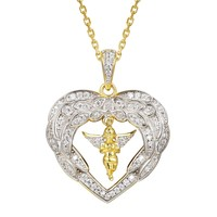 14k Gold Finish Heart with Angel Wings Pendant Valentine's
