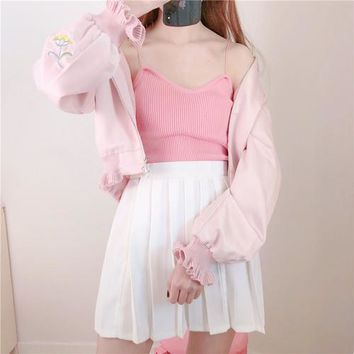 Korean Summer casual tees pure slim knit camisole outer V-Neck camisole slim bts Vadim Harajuku Kawaii Plus Size Sexy Crop Top