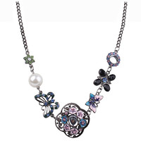Vintage Flower Necklaces & Pendants Butterfly Statement Necklace Women Collares Ethnic Jewelry for Personalized Gifts Party
