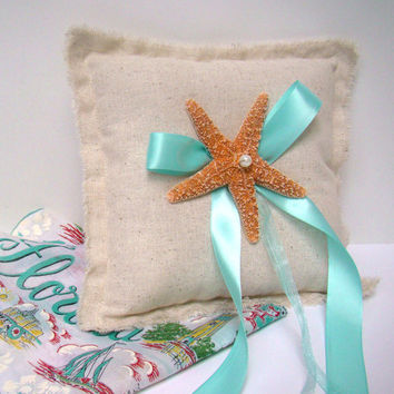 Ring Bearer Pillow, Starfish, Beach Wedding, Ring Bearer, Destination Wedding, Tropical, Malibu Blue, Aqua, Custom Color, Neutral